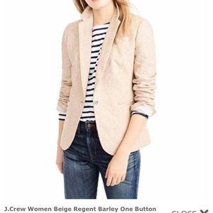 J. Crew Beige Regent Blazer 100% Linen Size 16